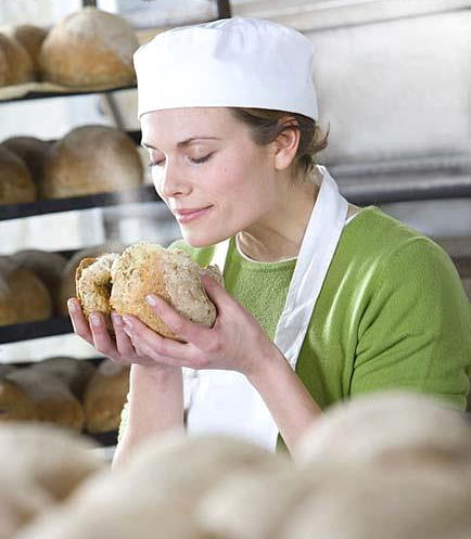 Enjoying the aroma of fresh bread