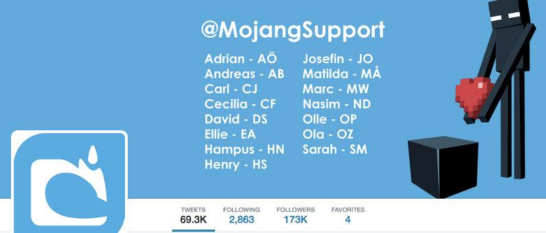 Mojang support at Twitter