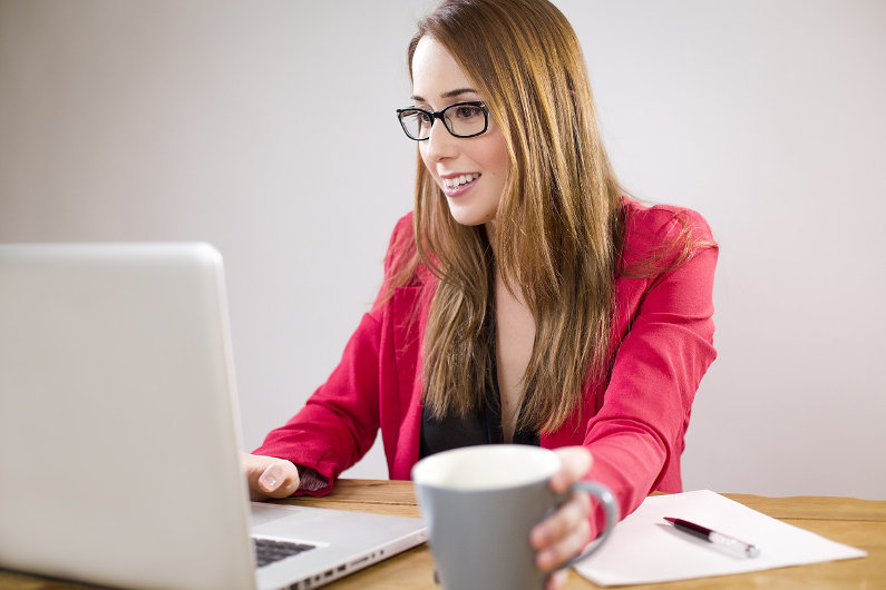 Businesswoman doing statistical analysis