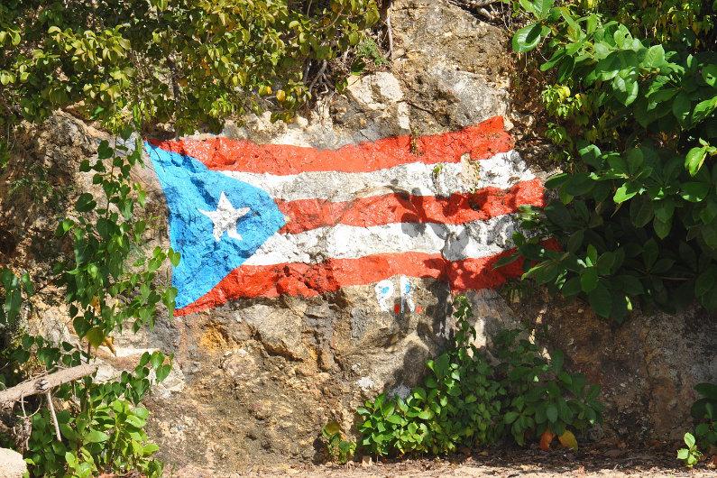 Puerto Rico flag on rock