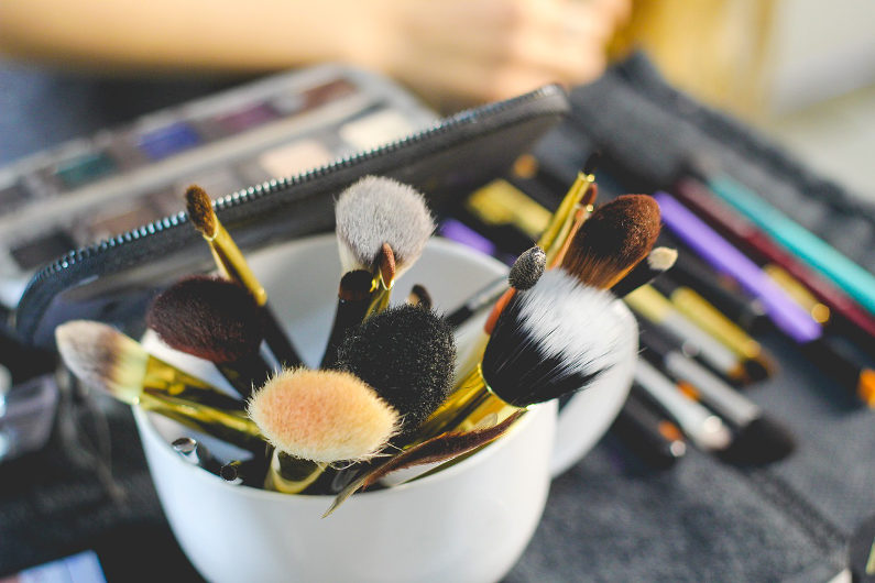 Beauty products and brushes