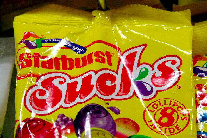 Starburst Sucks bad branding mistake