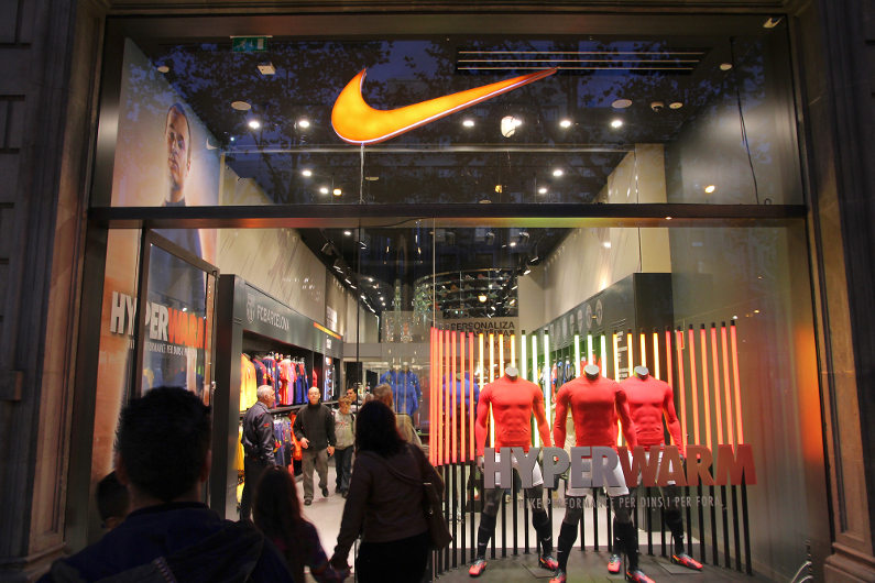 Shoppers at Nike store