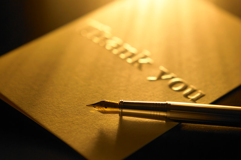 Engraved thank you card
