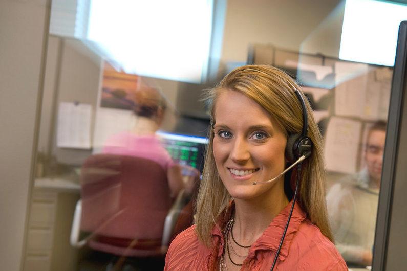 Customer service staff answering calls