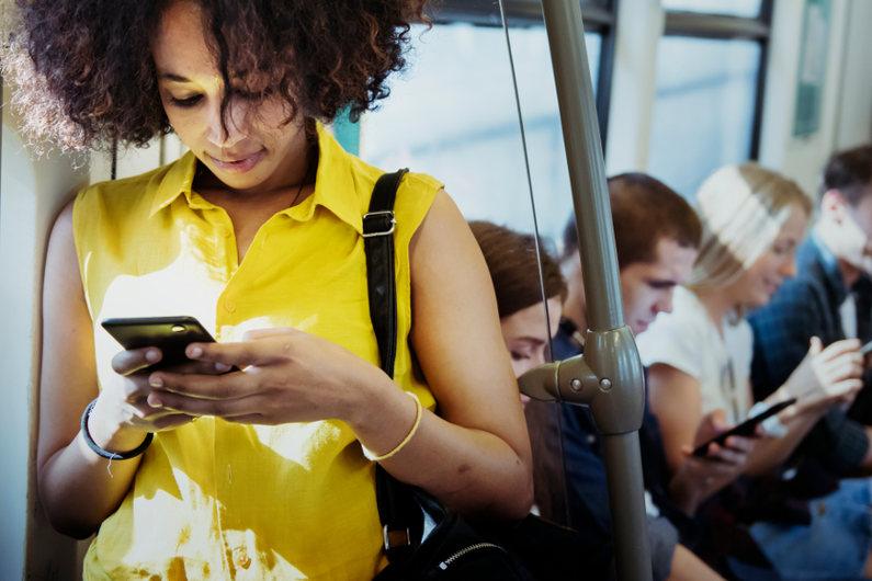 Accessing social media via smartphone