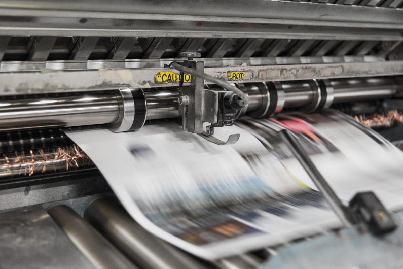 Offshore newspaper printing