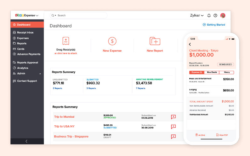 Zoho Expense screenshot