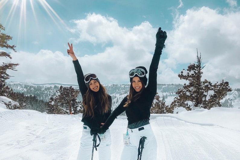Posing at a ski resort