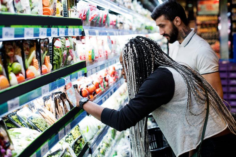 Gondola shelving in a supermarket