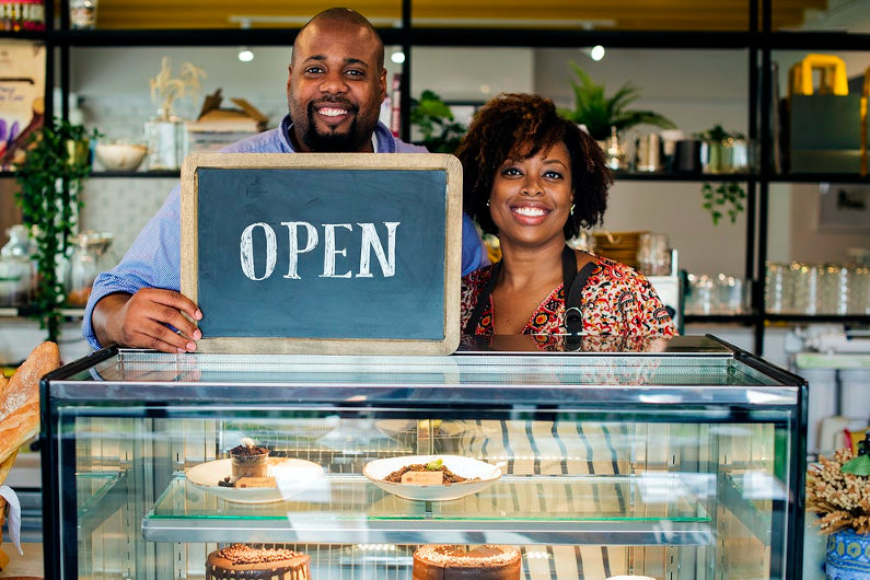 Friendly bakery shop owners