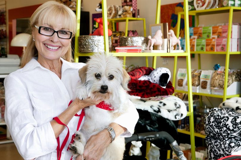 Pet franchise owner and her dog
